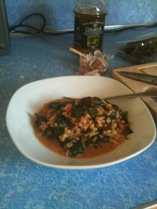 breakfast barley and red chard