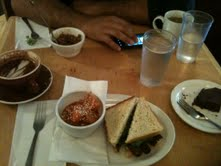It's a rare man who will wake up at 7 am just to drive you to work to make your day a little shinier. On Friday he took me out for breakfast before work to my favorite little vegan nook, Cafe Resonance. Kimchi, tempeh BLT, baked beans and brownies. Those brownies are the richest, chocolatiest bits of gluten-free goodness.... I'm melting just thinking of them.